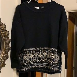 DKNY Beautiful sweater. Embroidered and beaded.